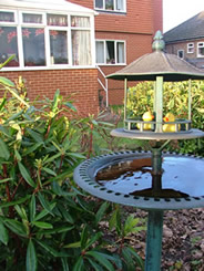 Bird bath in the grounds of the Gables Nursing Home Pudsey